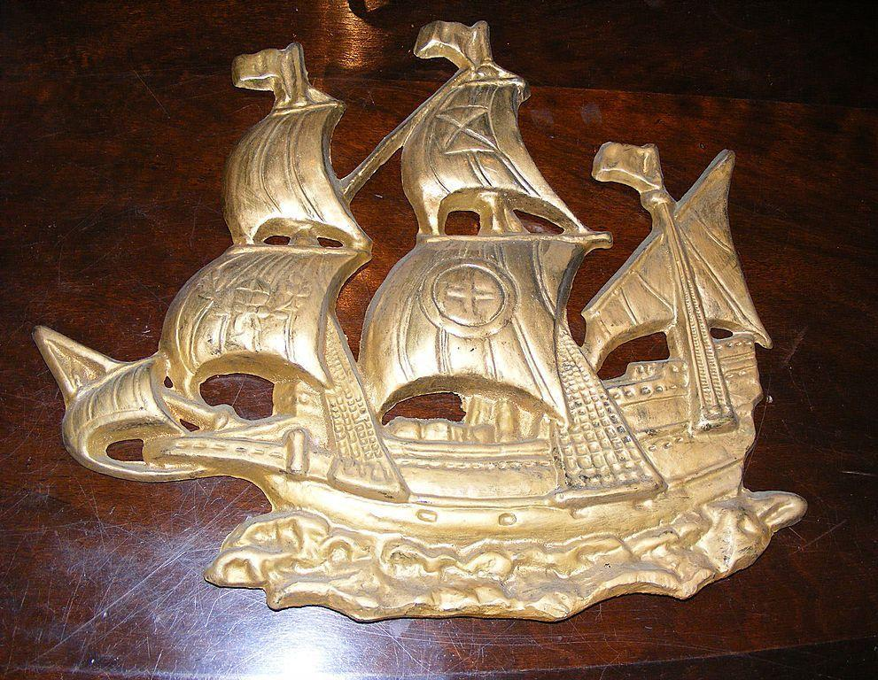Vintage Cast Iron Tall Ship Pirate Ship