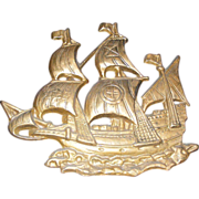 Vintage Cast Iron Tall Ship Pirate Ship