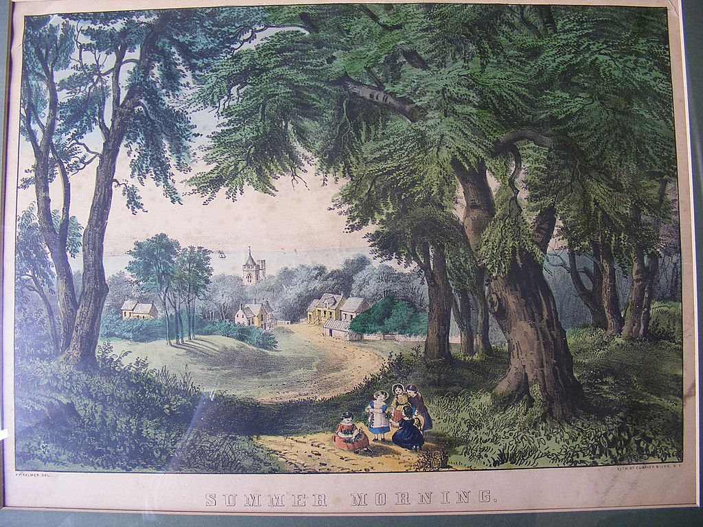 "Antique Currier & Ives Lithograph ""Summer Morning"""