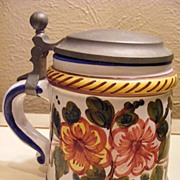 Vintage Salzburg Covered Stein with Pewter Lid