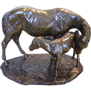 "Jim Reno ""Mother and Foal"" Bronze Sculpture"