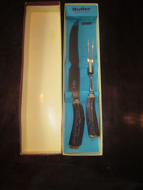 Vintage 2 Piece Antler Handle Carving Set