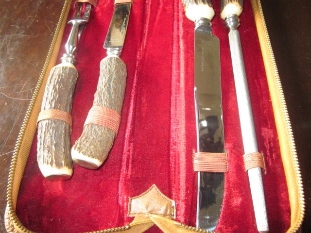 4 Piece Antler Handled Carving Set in zippered case