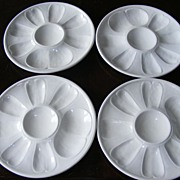 Set of 4 Vintage Blanc de Chine Oyster Plates