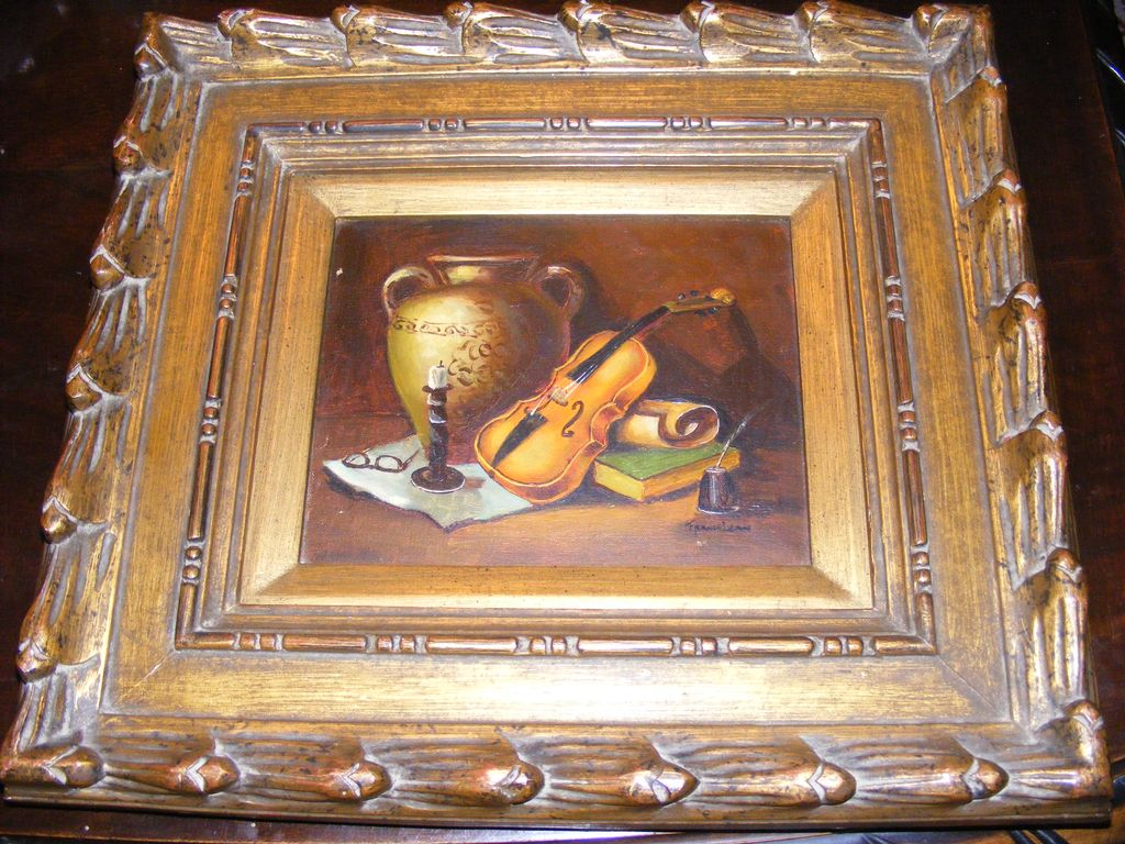 Original Frank Lean Oil Painting Violin