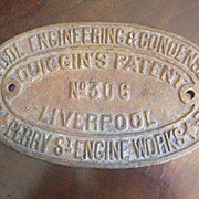 Antique Brass Machinery Sign Liverpool Engineering & Condenser