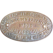 Antique Brass Machinery Sign Liverpool Engineering & Condenser