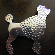 .925 Sterling Silver Poodle Brooch Pin Mexico