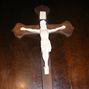 Vintage Crucifix with cast plaster Jesus