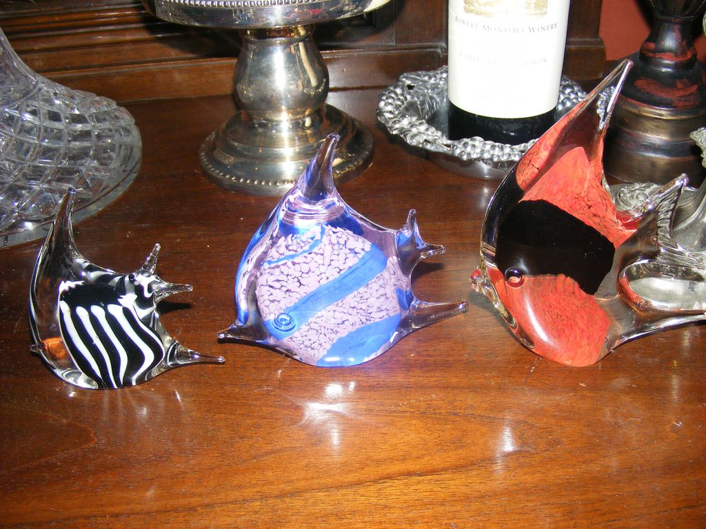 Set of 3 Hand Blown Glass Fish Paperweights