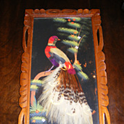 Vintage 1950's Mexico Craft Feather Art and Oil Painting Portrait