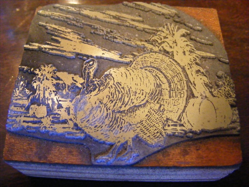 Vintage Thanksgiving Printer's Ink Block