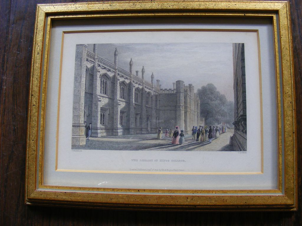 Framed Hand Colored Engraving 1842 The Library of King's College