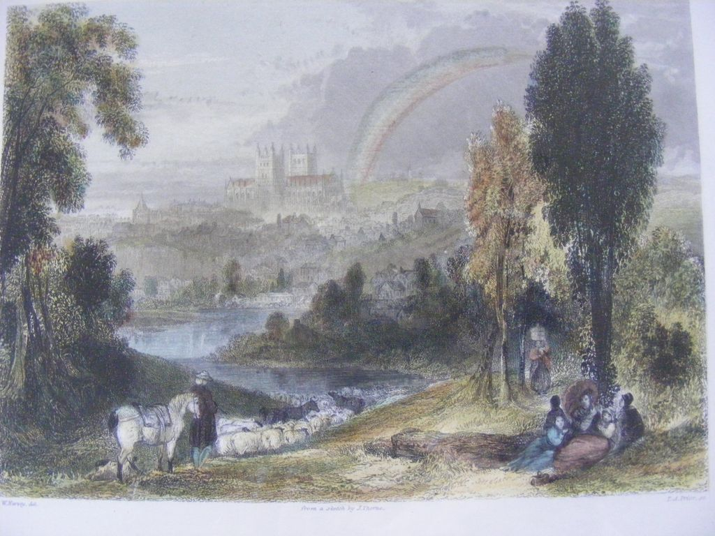 Framed Hand Colored Engraving Exeter 1840