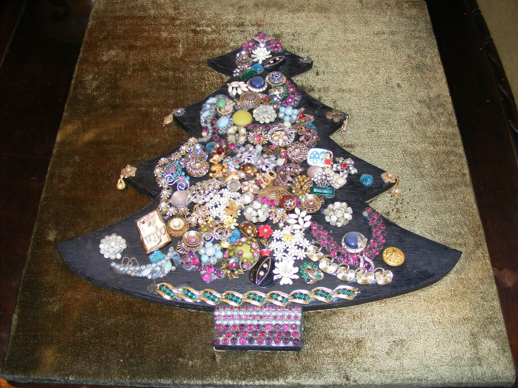 Vintage Costume Jewelry Christmas Tree Collage - Red Tag Sale Item ...
