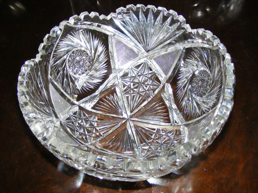 Large American Brilliant Period Cut Crystal Bowl