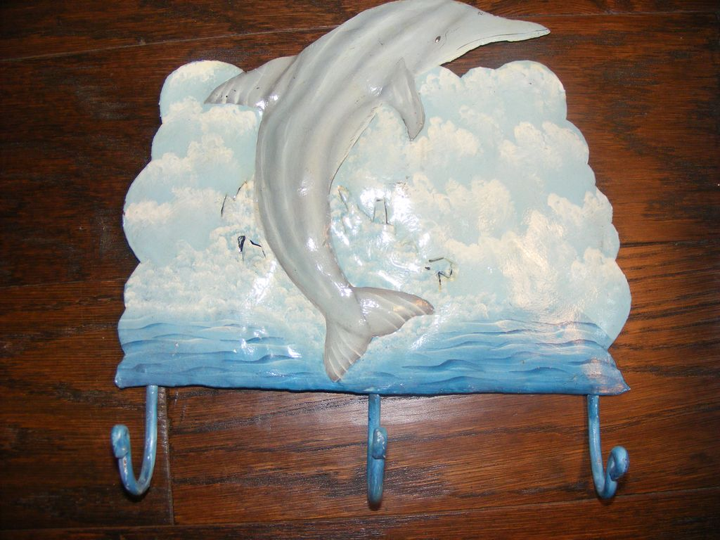 Hand Painted Metal Dolphin Towel Hooks
