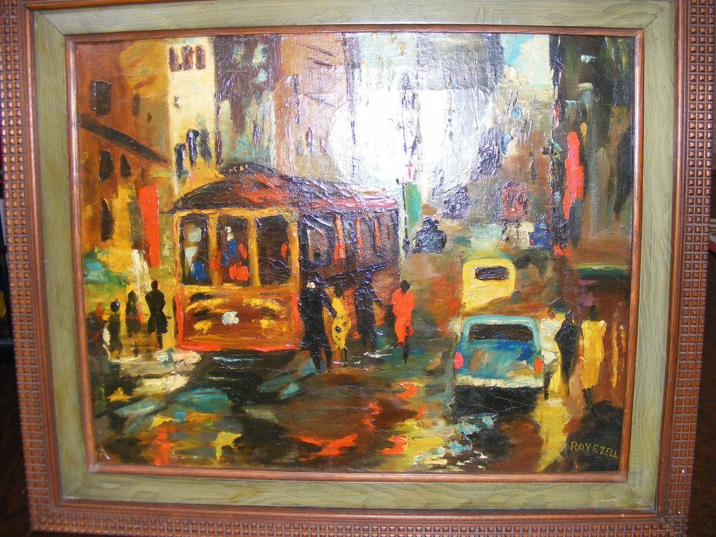 New Orleans Street Scene 1950's Oil Painting by E. Roy Ezell