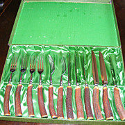 Antler Handle Fork and Steak Knife Flatware Set for 6