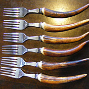 Set of 6 Vintage Antler Handle Forks by A. Royle