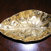 Virginia Metalcrafters Brass Imperial Tarro Leaf Nut Dish / Business Card Holder