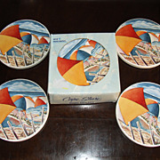 Set of 8 Sandstone Beach House Drink Coasters - Umbrellas