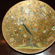 Antique 19th Century Hand Painted Paper Mache Bowl