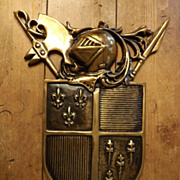 Cast Brass Coat of Arms Medieval Wall Hanging