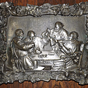 Antique Dutch Brass Plaque - Monks Drinking