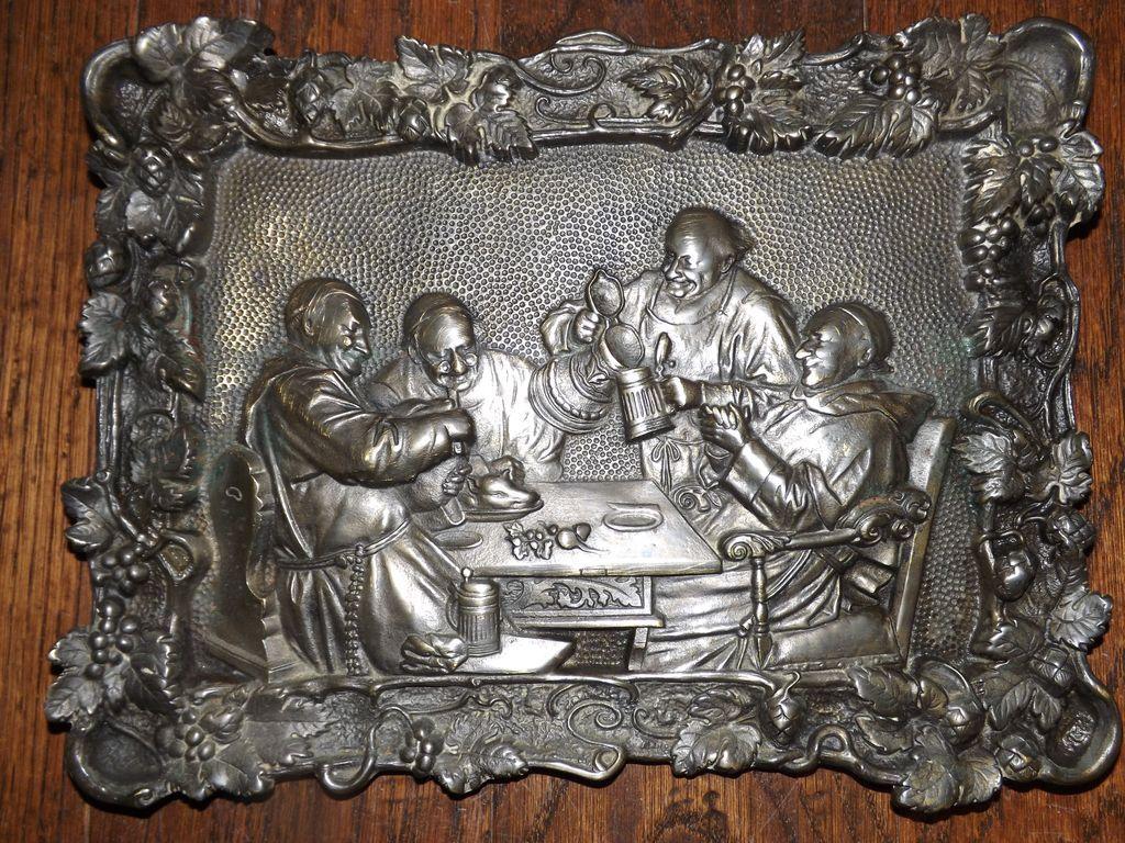 Antique Dutch Brass Plaque - Monks Drinking