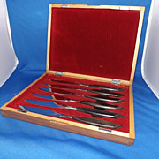 Eames Era Set of 6 Teak Handle Steak Knives