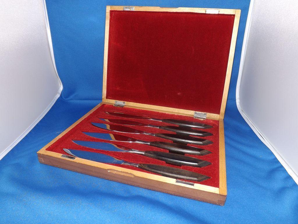 Eames Era Set of 6 Teak Handle Steak Knives