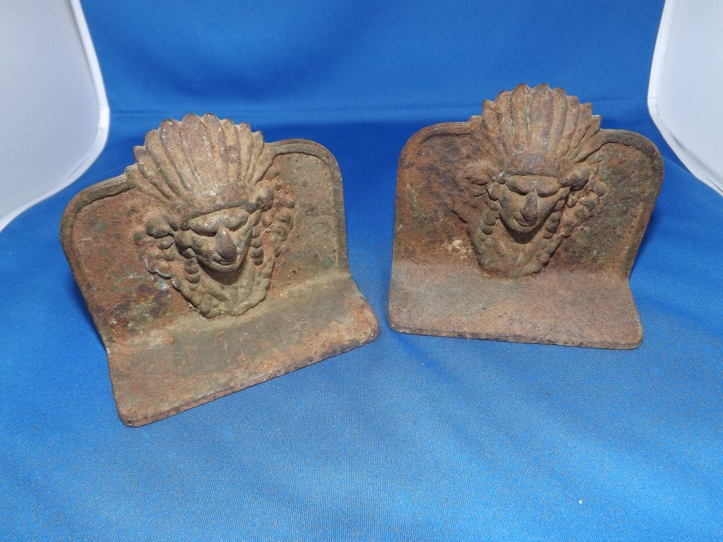 Pair Antique Cast Iron Indian Chief Book Ends