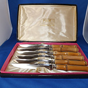Vintage PEASO Steak Knives with Bamboo Handles