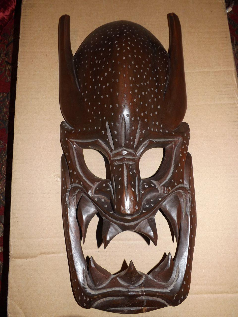 Vintage Hand Carved Wooden Tribal Mask Wall Hanging