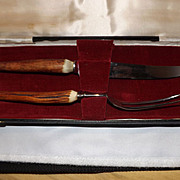 Vintage Maxwell Phillip Antler Handle Poultry Carving Set