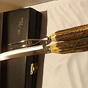 Vintage New Old Stock Antler Handle Carving Set by Case XX