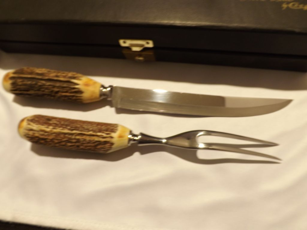 vintage new old stock antler handle carving set by case xx from roll over large image to magnify click large image to zoom