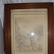 Original Pencil Drawing - The Huntington Library  - John Klein