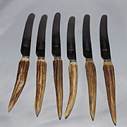 Vintage set of 6 Antler Handle Dinner Knives by James Lodge