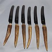 Vintage set of 6 Antler Handle Dinner Knives by James Lodge