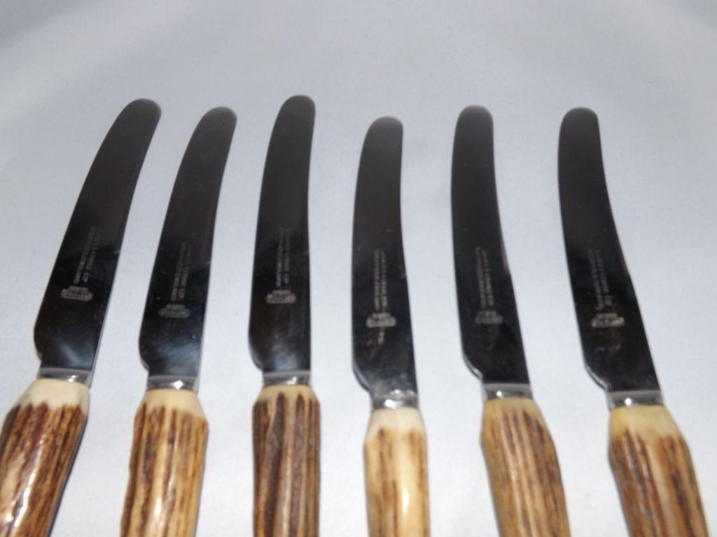 vintage set of 6 antler handle dinner knives by james lodge from
