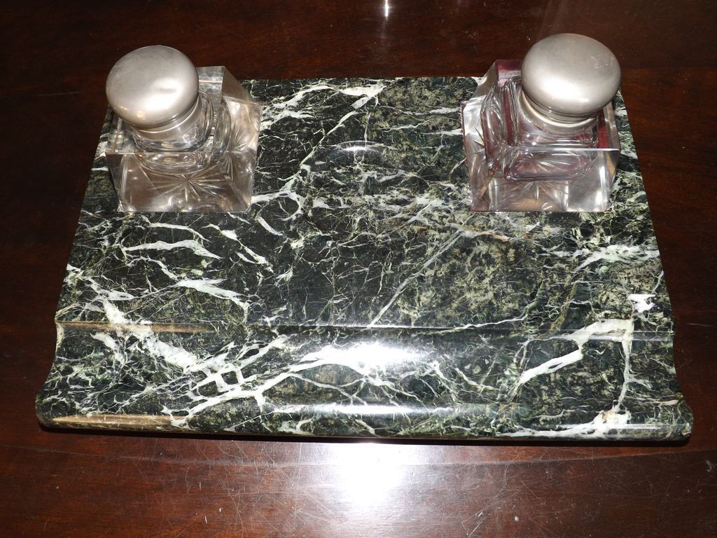 Antique Green Marble Desk Set From E3antiques On Ruby Lane