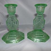 Pair Vaseline Glass / Depression Glass Candle Sticks