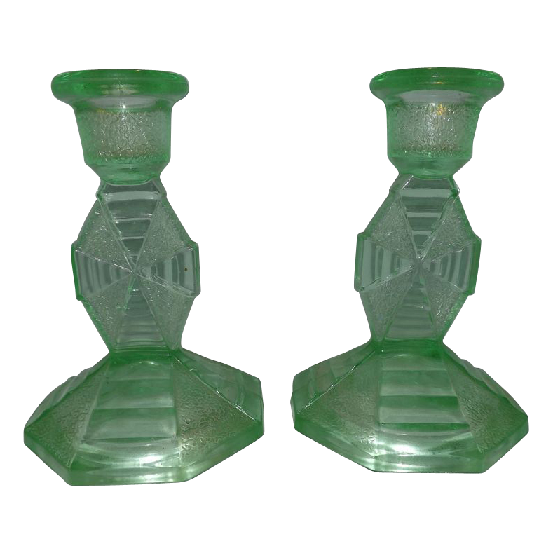 Pair Vaseline Glass / Depression Glass Candle Sticks