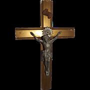 Vintage Crucifix with Cast Metal Jesus