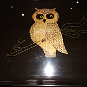 Vintage Couroc Owl Large Serving Tray