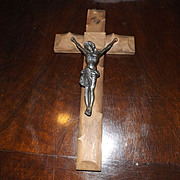 Vintage Wood and Metal Crucifix - French
