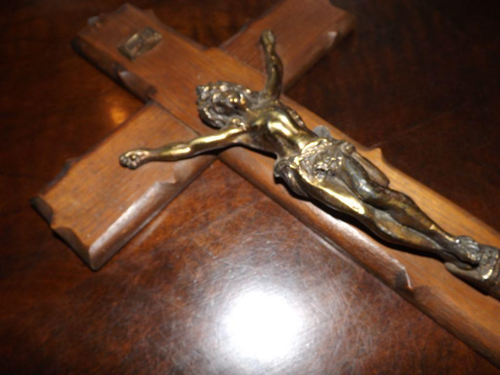 Vintage Wood and Brass Crucifix - French