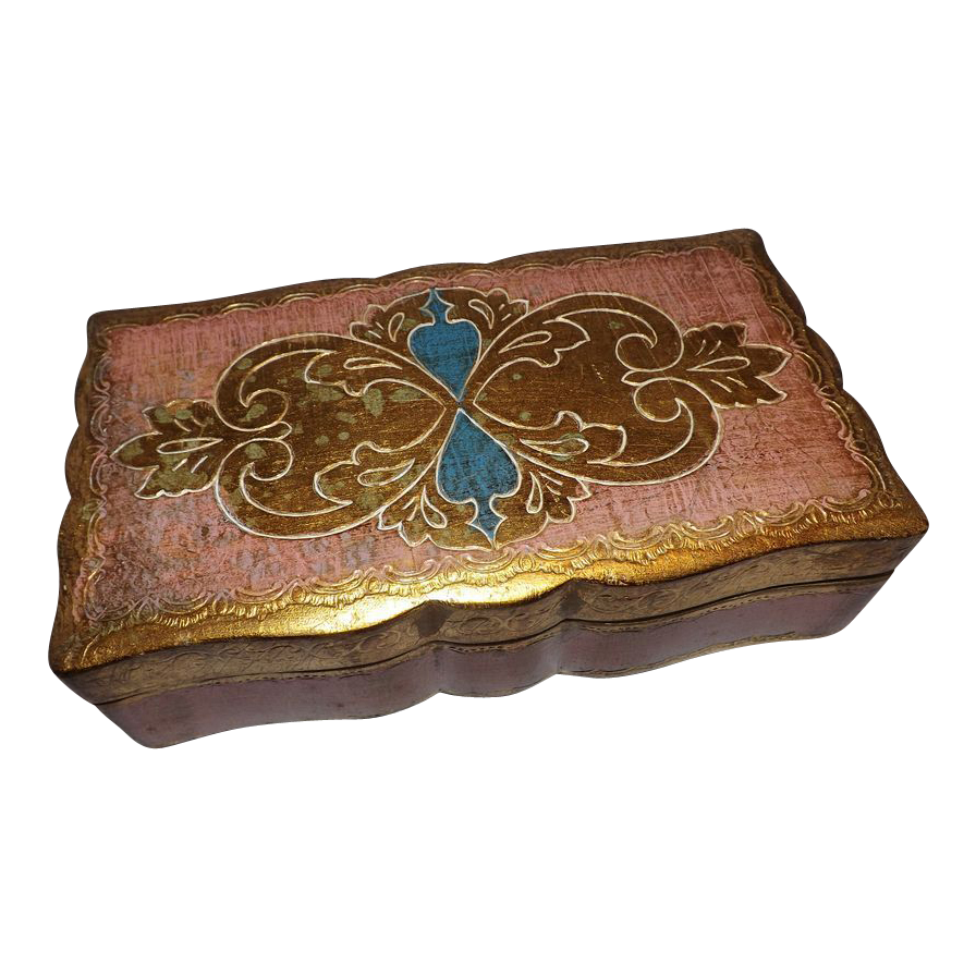Hand Painted Florentine Italy Wood Jewelry Box